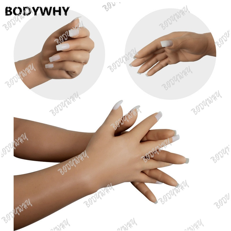 Realistic Male Silicone Gloves Prosthesis Hands Sleeve Highly Simulated Skin Artificial Arm Cover Scars Breast Forms Fake Hand