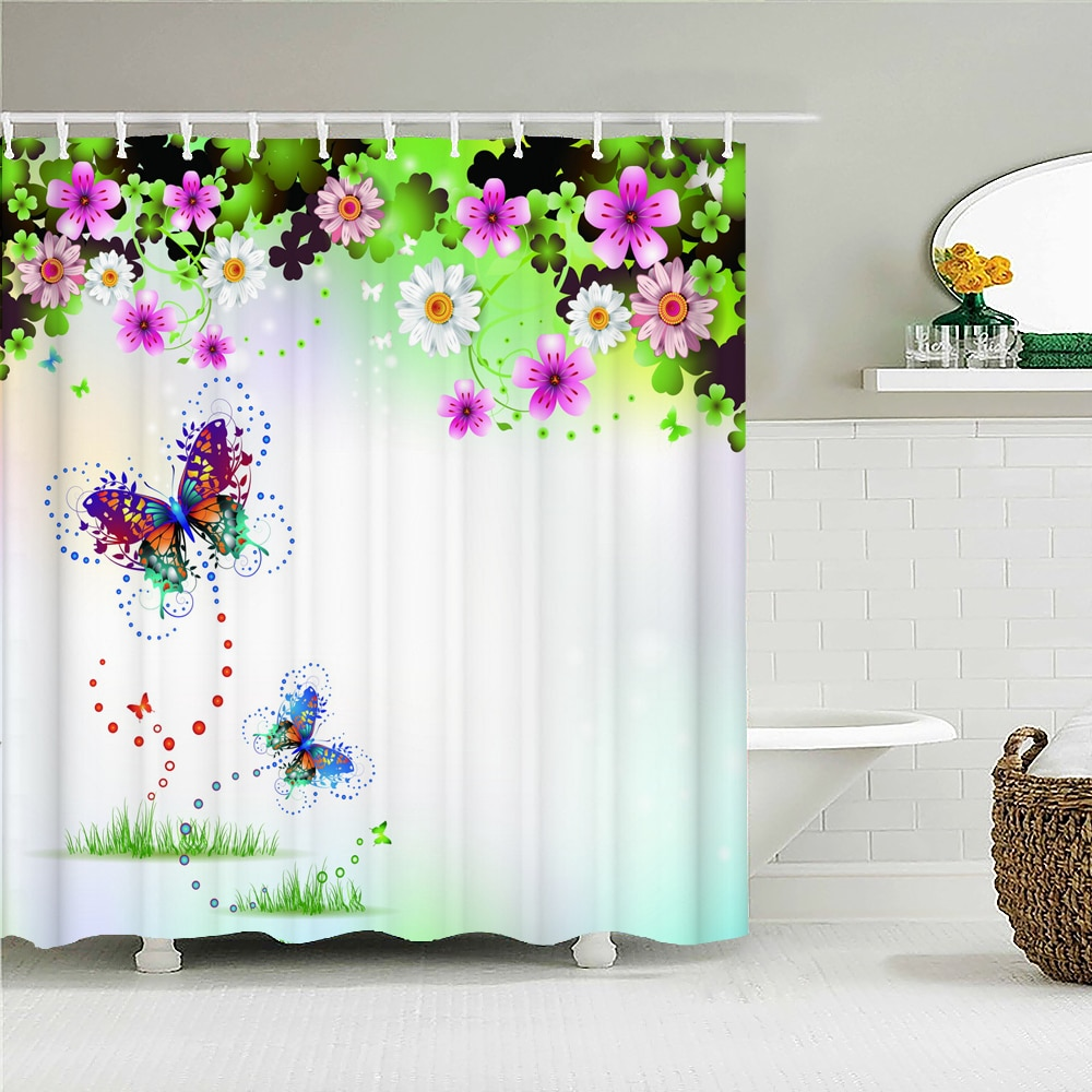 Multi-size Beautiful Butterfly Flowers Shower Curtain Waterproof Fabric Floral Bath Curtains for Bat