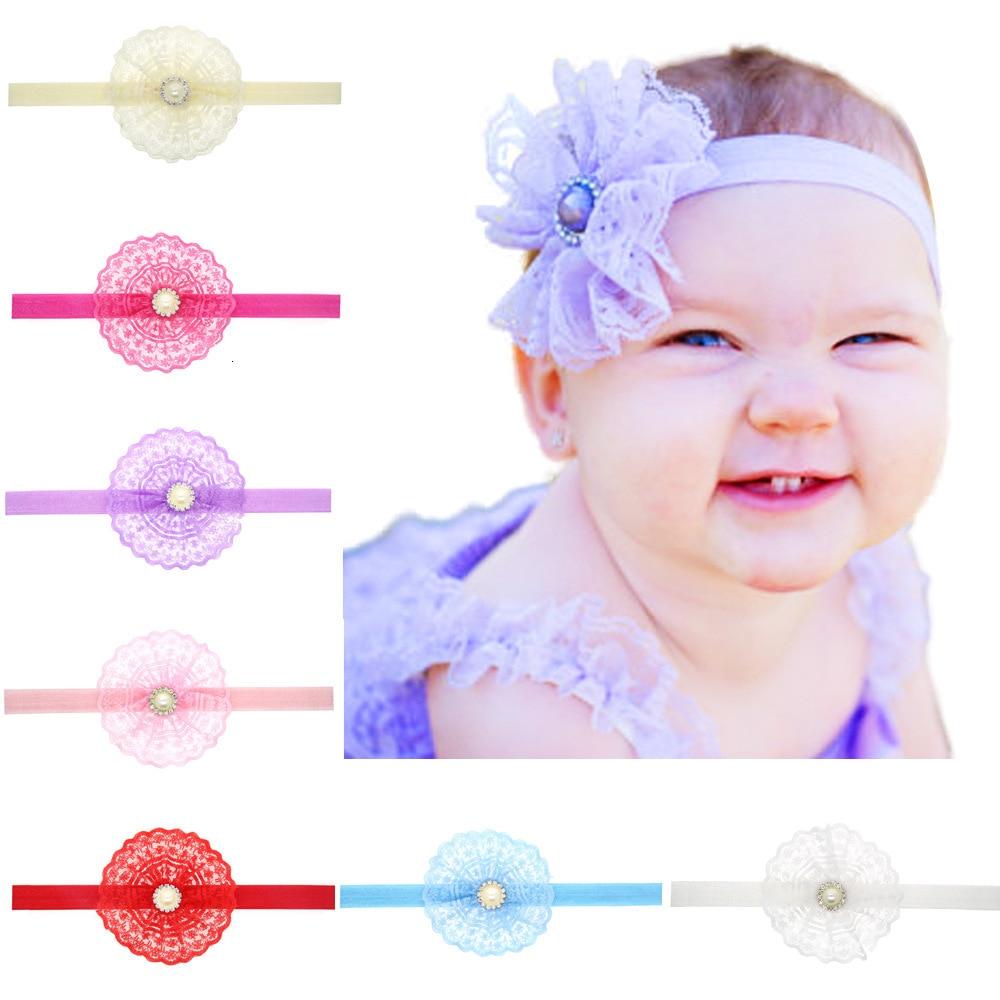 baby girl headband Infant hair accessory crystal  pearl Tie bows newborn Headwear tiara Gift Toddlers bandage Ribbon headwrap