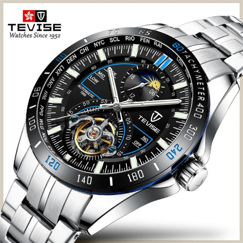 TEVISE Men Automatic Mechanical Fashion Top Brand Sport Watches Tourbillon Moon Phase Stainless Stee