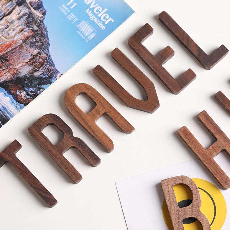 Nórdico negro nogal madera DIY pared letras decorativas A-Z hogar empresa decoración DIY personalizado
