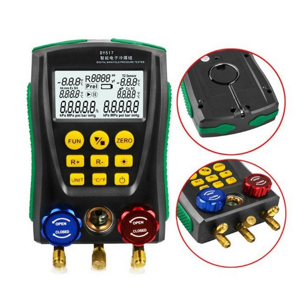 0 ~ 6000 كيلو باسكال المنوع قياس الضغط التبريد الرقمية فراغ الضغط المنوع جهاز قياس درجة الحرارة اختبار الضغط