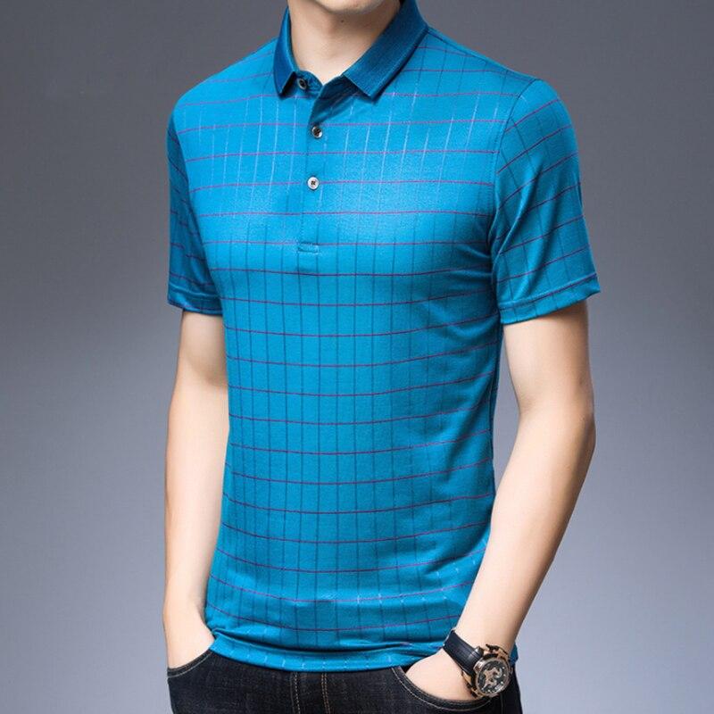 جديد الرجال منقوشة بولو الصيف الحرير الطبيعي قصيرة الأكمام موضة في سن المراهقة رياضية غير رسمية الفاخرة الذكور لينة طوق قميص