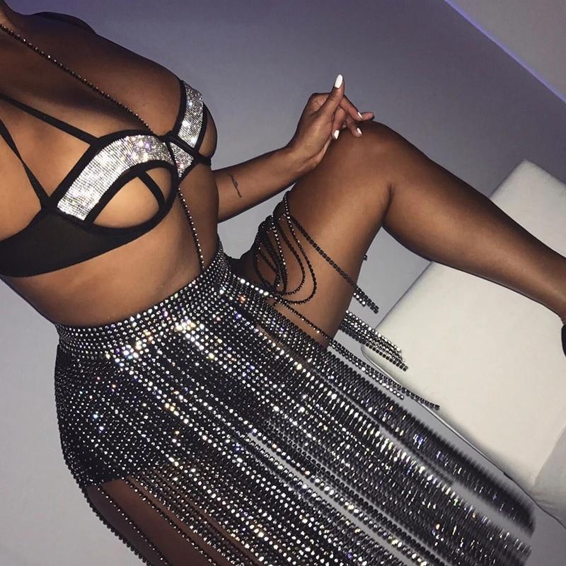 Falda de borla larga de Diamante Negro Sexy transparente a través de retazos de diamantes de imitación faldas hiperbólica Chic Festival de Música falda caliente para mujer