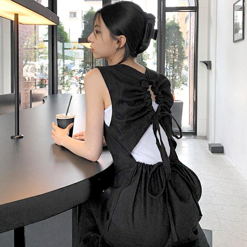 Dress South Korea Chic Summer Temperament Back Careful Drawstring Hollowed Out Design Sleeveless Ves