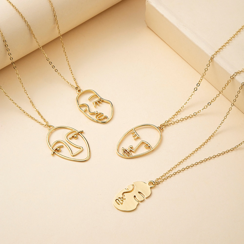 VG 6YM Punk Human Face Pendent necklace For Women Retro Abstract Hollow Out Statement Golden Face Ne