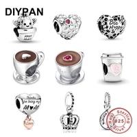 fit original pandora charms bracelet 925 sterling silver coffee cup charm bead fashion jewelry women diy berloque