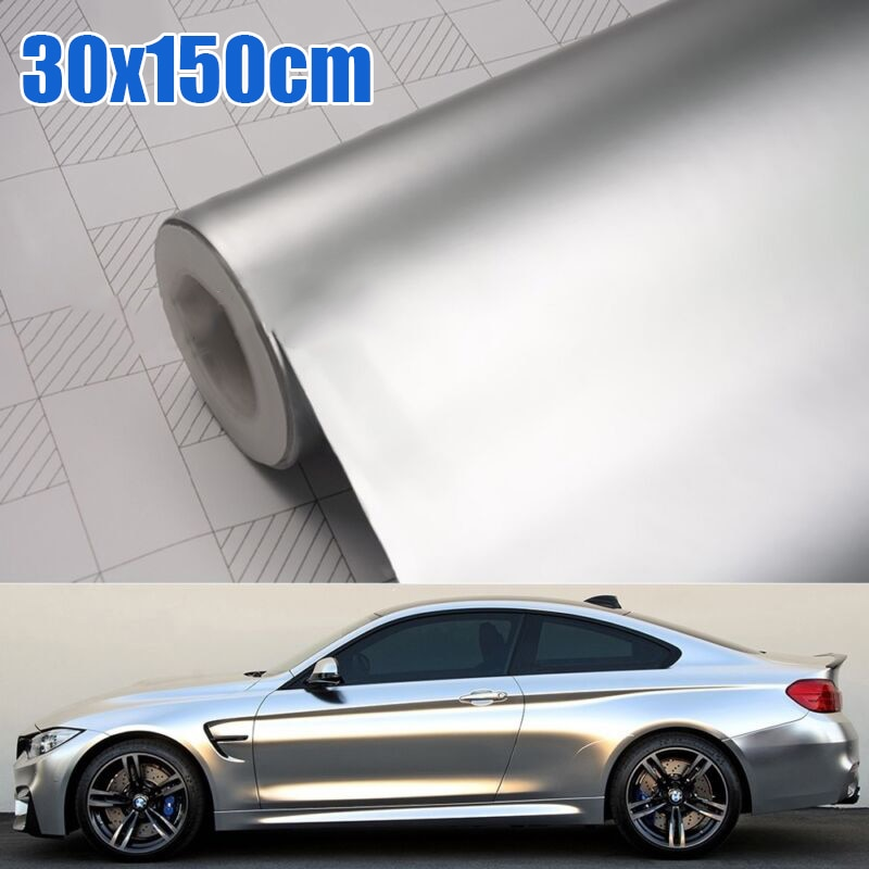 Автомобильный аксессуар 30*150 см атласная матовая хромированная металлическая Серебряная виниловая оберточная пленка наклейка без пузырьков