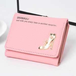 New ladies short wallet  student coin purse  multi-function card holder  exquisite high-heeled shoes  three-fold hardware wallet