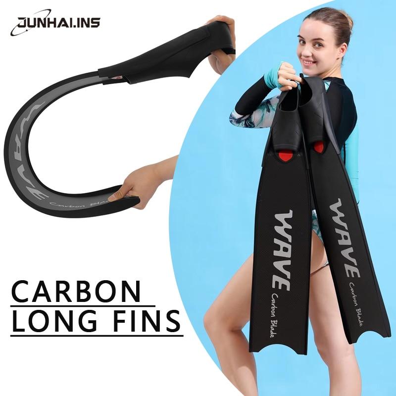 NEW Carbon Fiber Freediving Fins Flippers Professional Spearfishing Scuba Diving Equipment Long Flexible Snorkeling fins