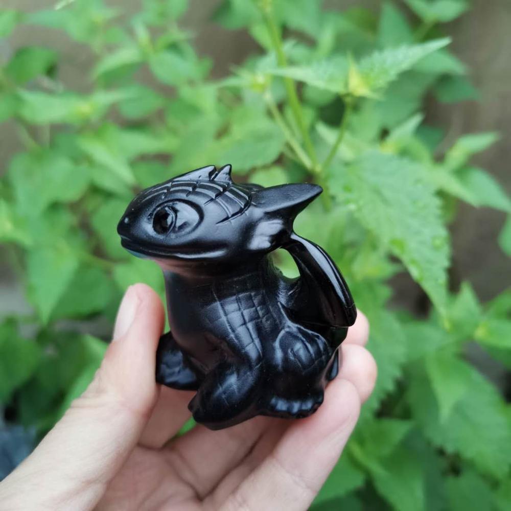 Figuritas sin dientes obsidiana negra Natural piedra preciosa tallada cristal película personajes