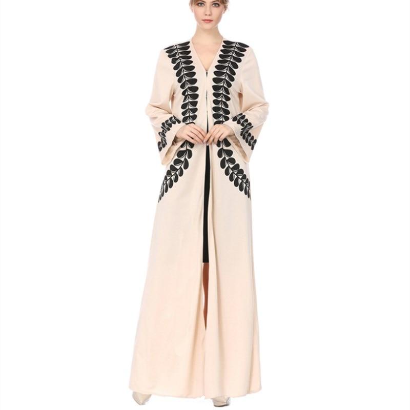 New Women's Muslim Print Trumpet Sleeve Hui Dress Middle East Robe Worship Dress ribbon tape detail trumpet sleeve smock dress