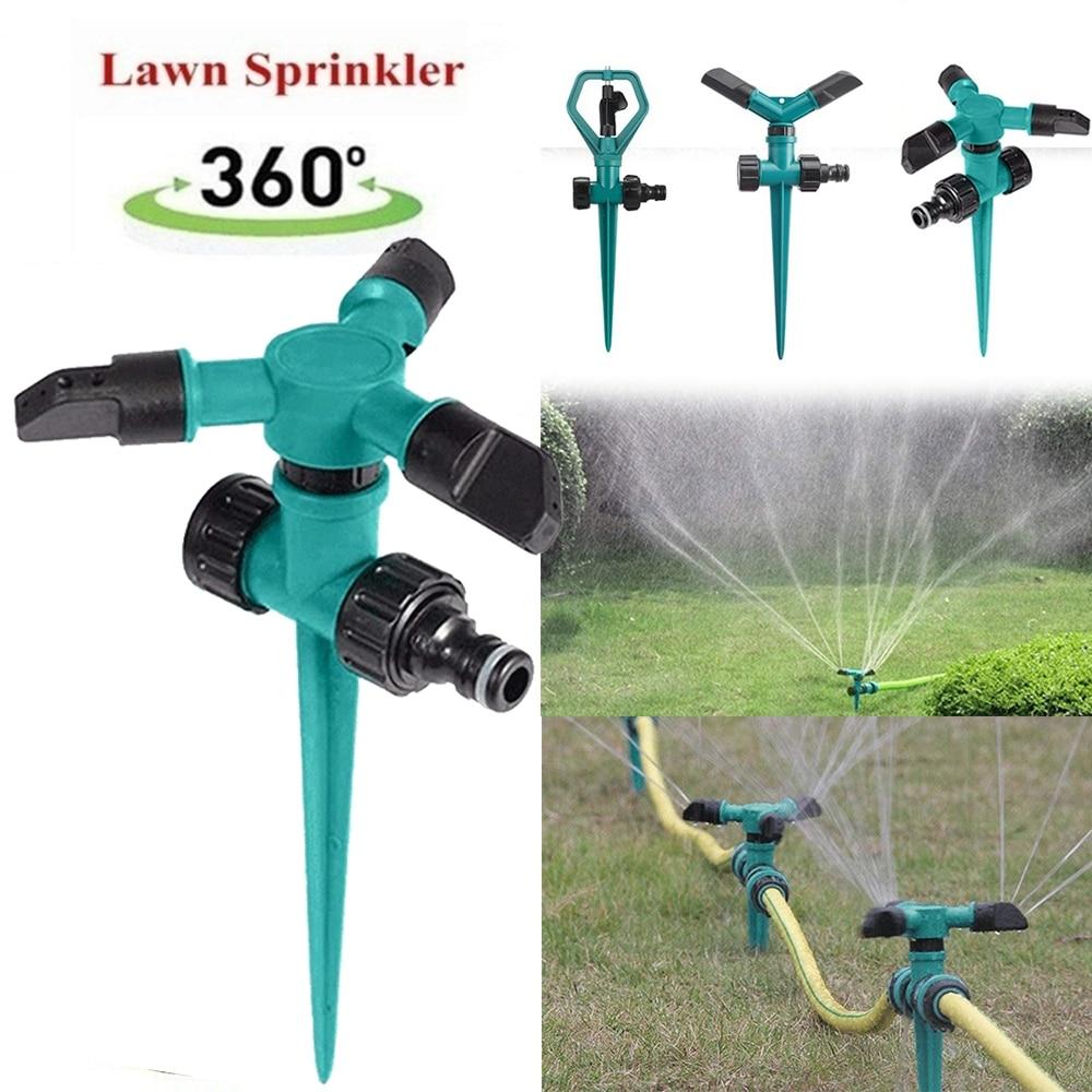 360 ° вращающийся разбрызгиватель для воды в саду, орошение газона, 1/2/3 насадок для садовых разбрызгивателей автоматический