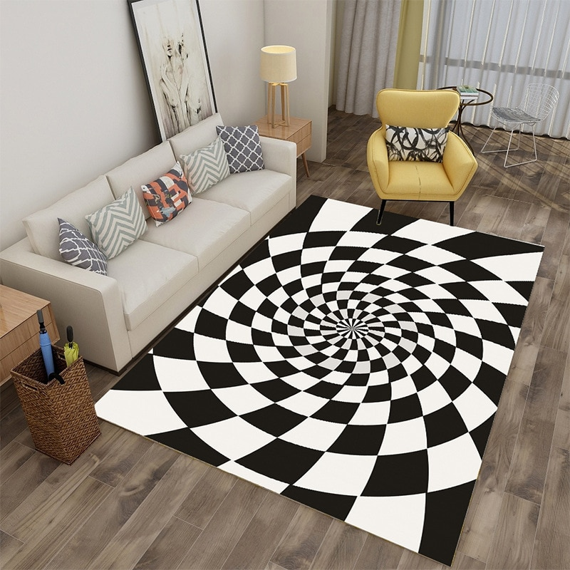 3D Optical Illusion Print White Black Abstract Geometric Living Room Area Rugs Carpets Tapete Antiskid Rug Floor Mats Home Decor