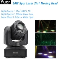 mini spot laser 2in1 30w led moving head light with gobos platecolor plate high brightness dj disco stage laser light dmx512