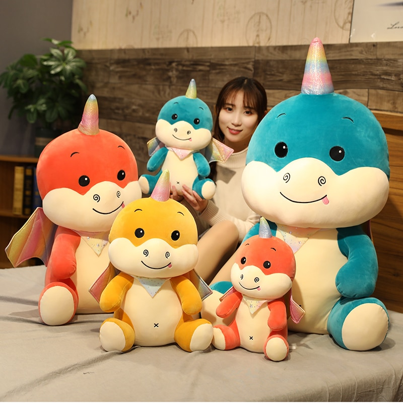 45-100cm dibujos animados Anime unicornio volador dragón Animal relleno juguete alto dinosaurio, unicornio muñeca cumpleaños de niño regalo