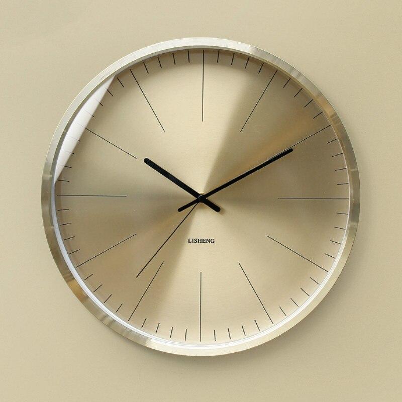 Nordic luxo relógio de parede ouro minimalista e moderno mudo sala estar cozinha criativa relógios casa luxo metal presente c6t