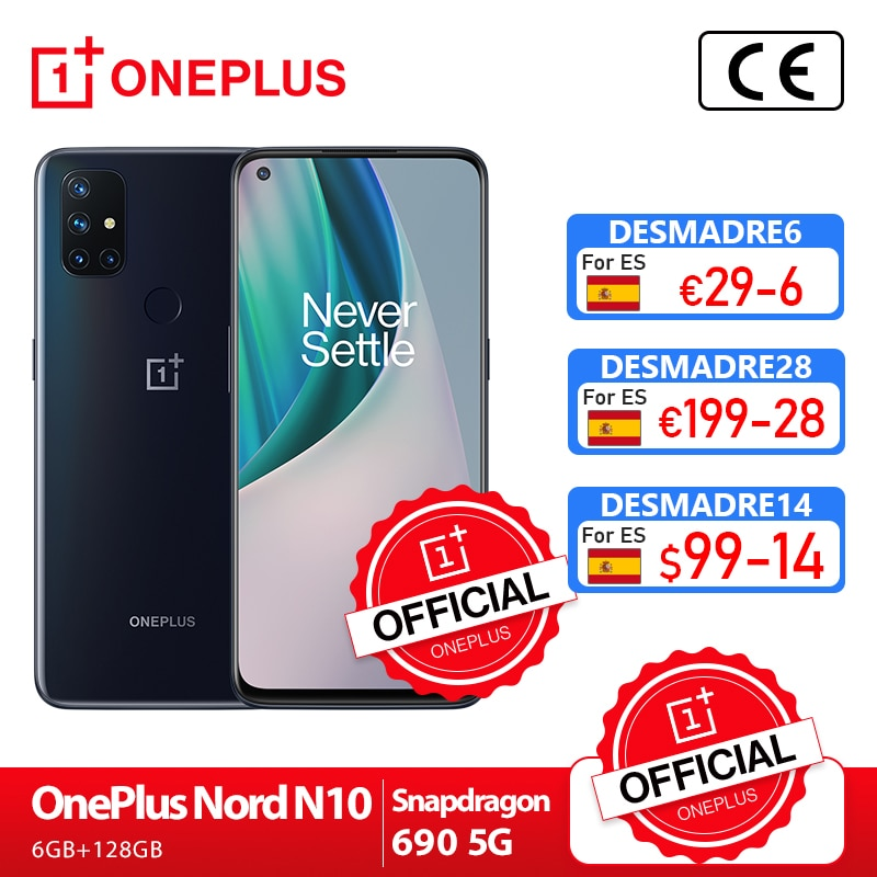 OnePlus Nord N10 5G OnePlus Official Store World Premiere Global Version 6GB 128GB Snapdragon 690 Smartphone 90Hz Display 64MP