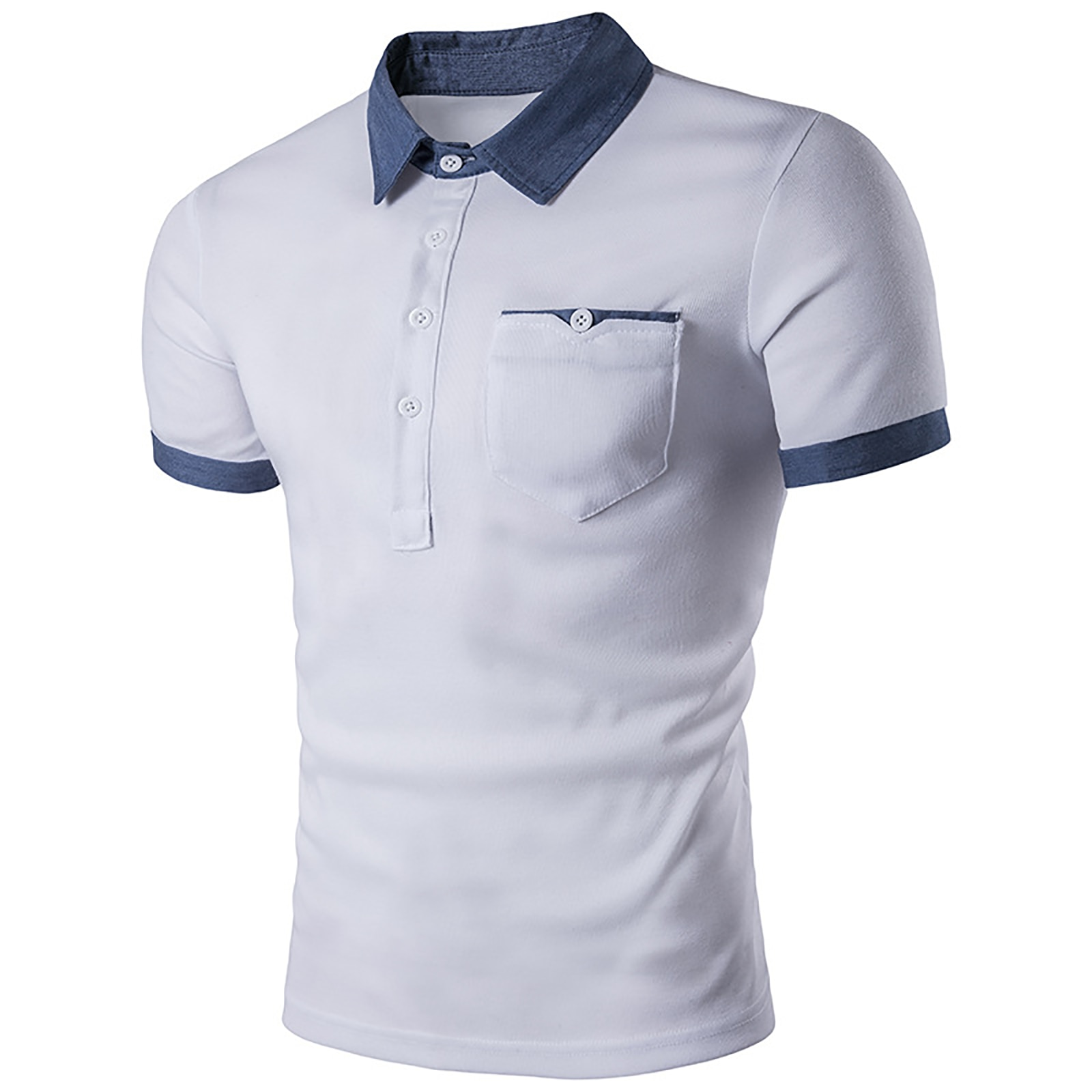 High Quality Cotton Mens Casual Denim Stitching Pocket Male  Polo Shirt Brand Jersey Short Sleeve  Solid Breathable Tops Tee