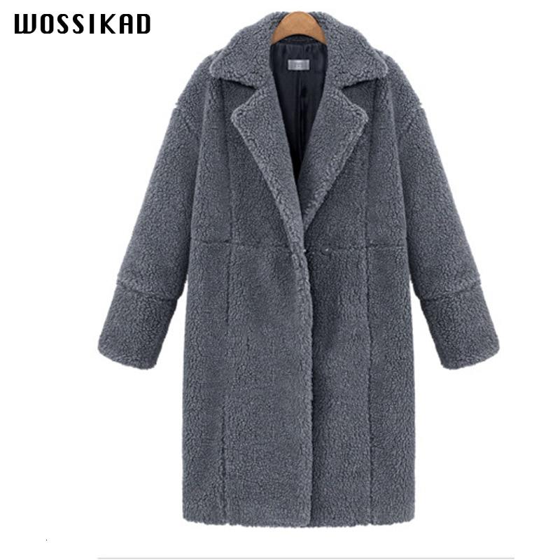 2019 Fall Clothing Women Long Sleeve Solid Color Long Overcoat Gothic Loose Fleece Female Coat Warm Winter Modis Moda Mujer