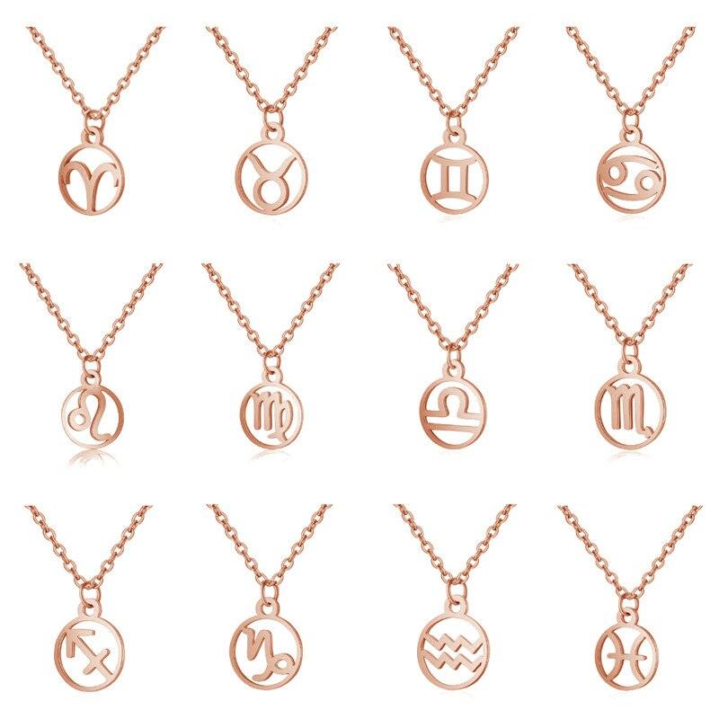 Einfache 12 Sternzeichen Zeichen Halsketten für Frauen Rose Gold Farbe Leo Steinbock Wassermann Virgo Zwilling Widder Runde Halskette Anhänger Männer