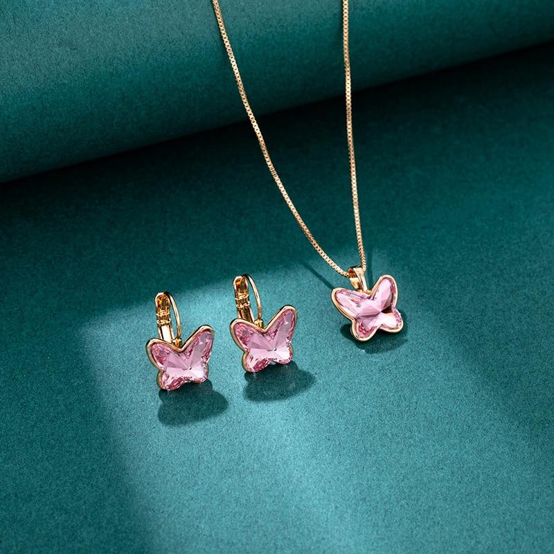 Nuevo juego de joyería Xuping hecho con cristal austriaco para niñas, joyería de boda, colgante y pendiente de diseño de mariposa a la moda, conjunto de regalo