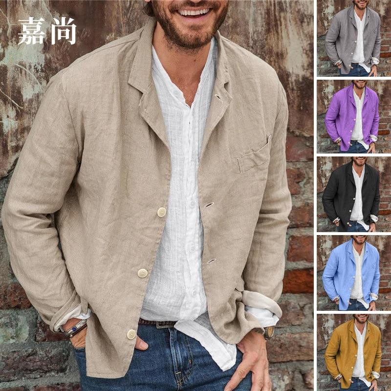 Loose Suit Jacket Shirt Top Men's Suit Collar Button Solid Color Cotton Linen Suit Spring Summer Cas