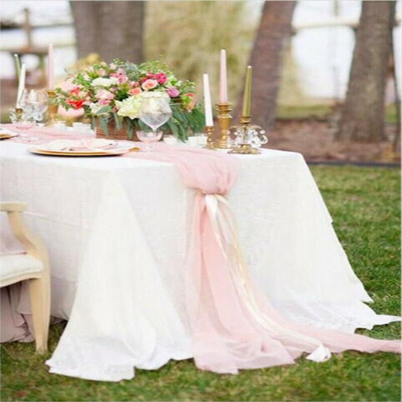 "Romantic Premium Chiffon 27""x120"" Extra Wide Wedding Table Top Runner Decoration"