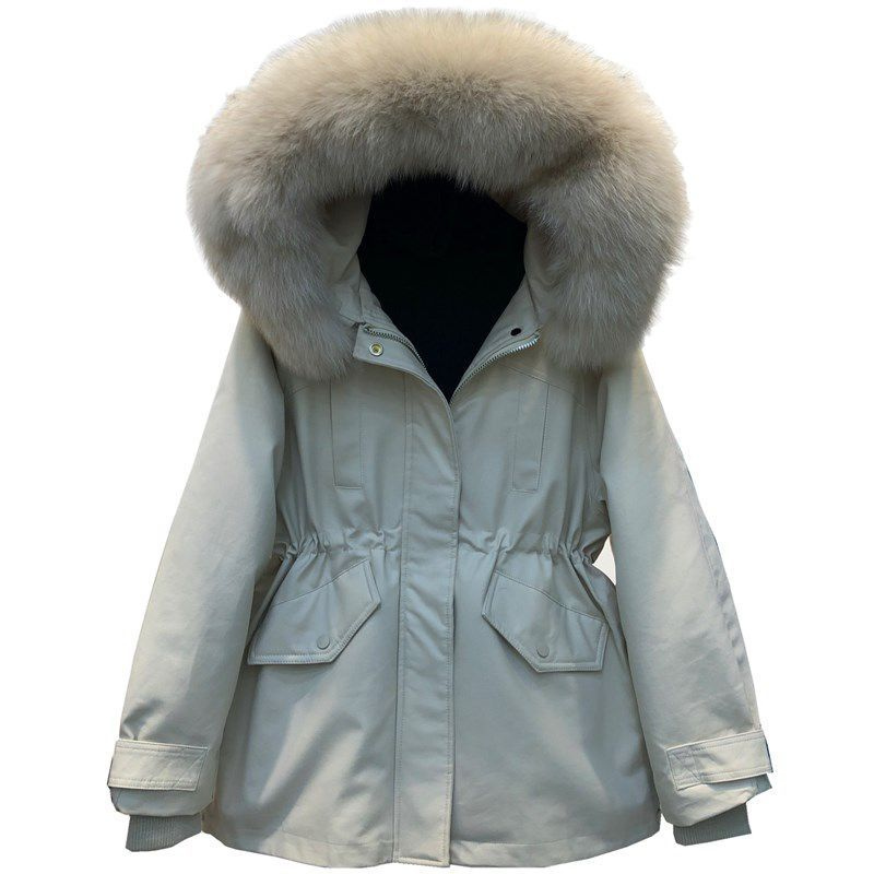 Large Size Women 's Cotton Clothes Winter Youth Big Fur Collar Hooded Long-Sleeved Cardigan Waist-Tight Slimming Coat slimming hooded patch pocket french front back slit slimming long sleeves men s camo coat