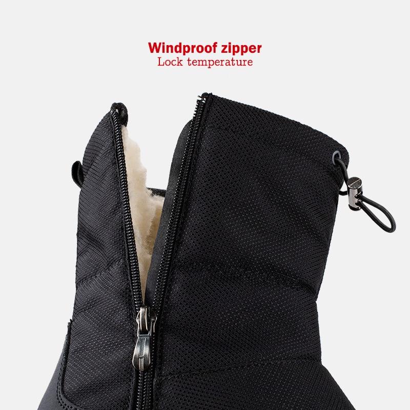 Bottes hautes d'hiver pour homme en plein air voyage bottes de neige fermeture éclair anti-dérapant coton chaussures hommes Plus velours garder chaussures décontractées chaudes mâle 45