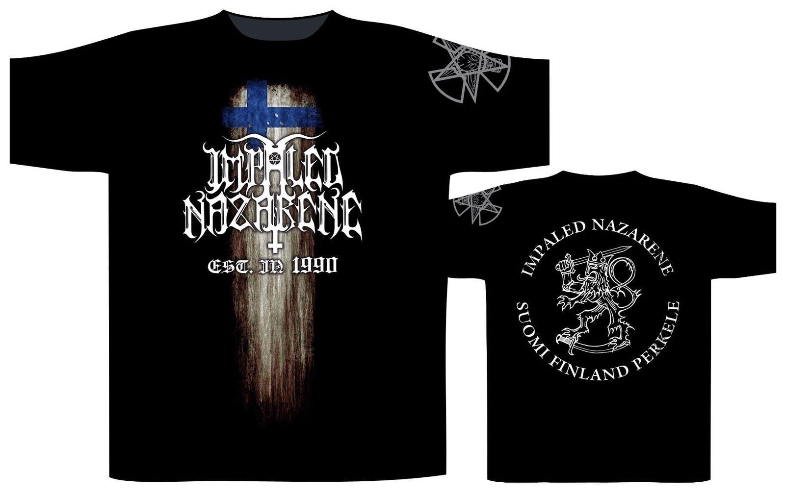 Camiseta Impaled Nazarene Suomi Finland Perkele-¡nuevo oficial! Camiseta con cuello redondo de verano para hombre