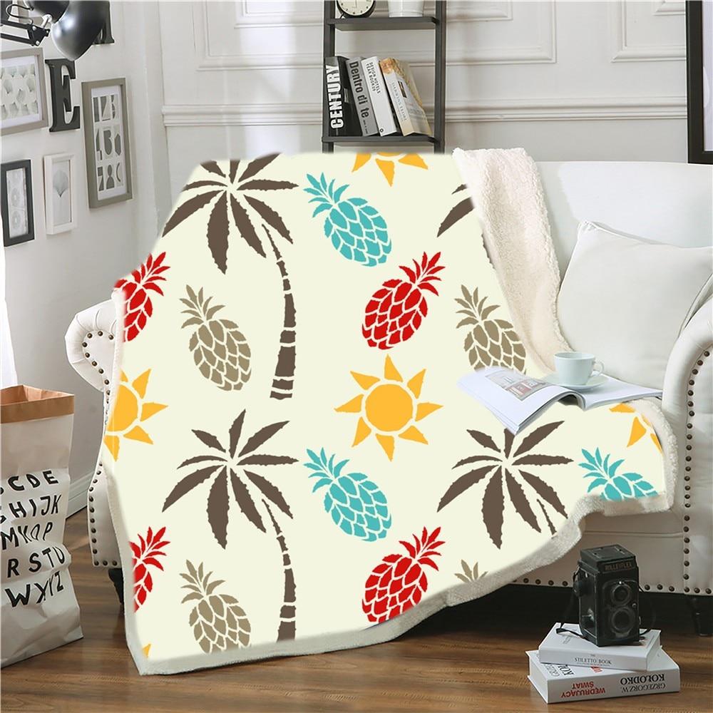 Pineapple Sherpa Blanket 3D Print Cartoon Fruits Throw Blanket For Bedroom Weighted Blanket Home Decor Nap Office Fleece Blanket
