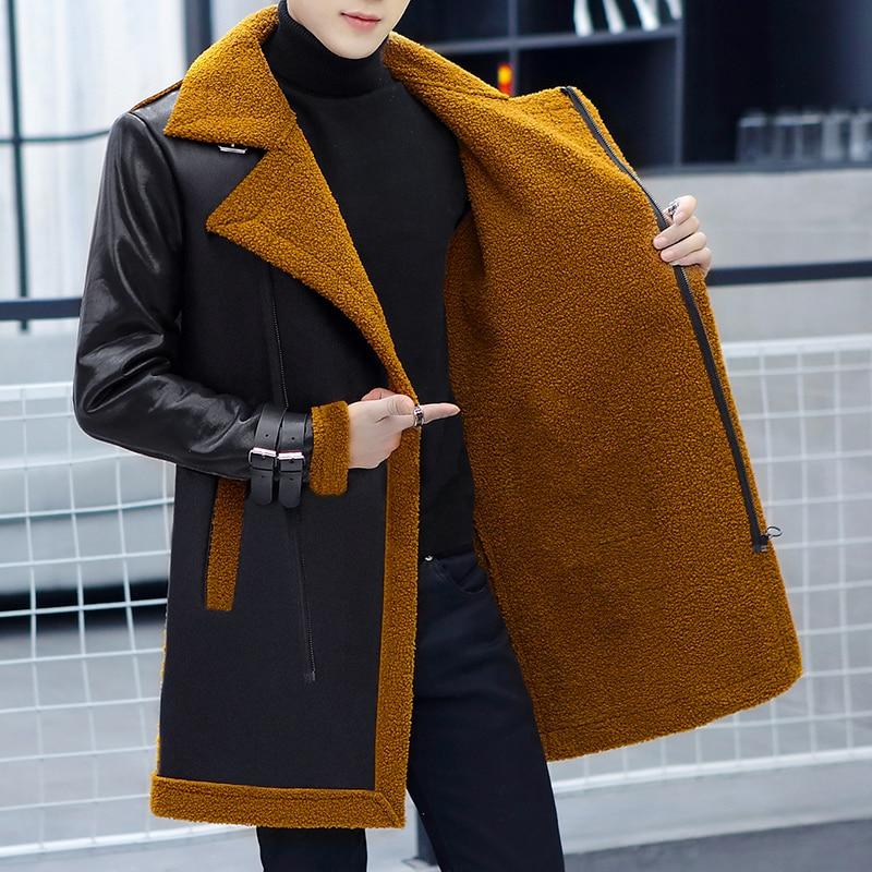 Men's Medium Long Faux Leather Clothes Velvet Warm Slim Fitting Korean Version New Winter Plush Fur Integrated Windbreaker Coat