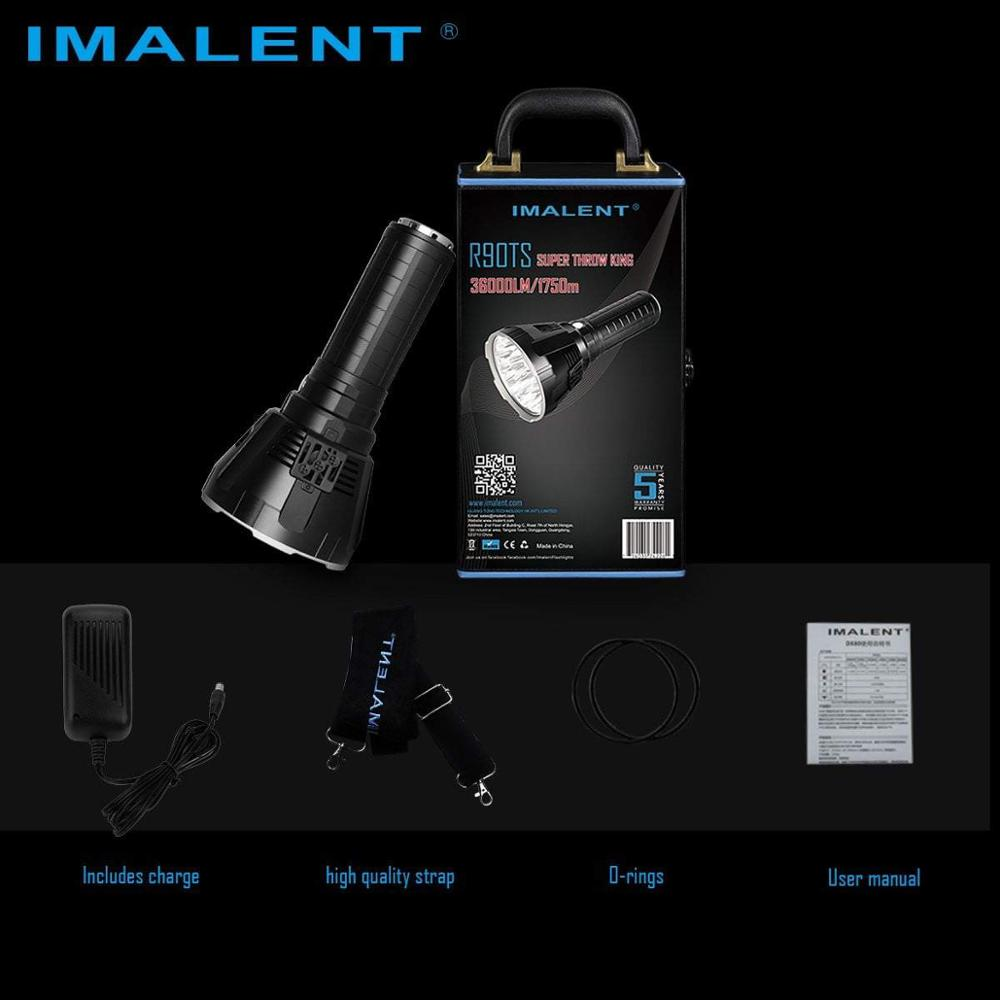 IMALENT R90TS flashlight 36000 lumens Leds Rechargeable CREE XHP35 HI LEDs Searchlight Outdoor Torch enlarge