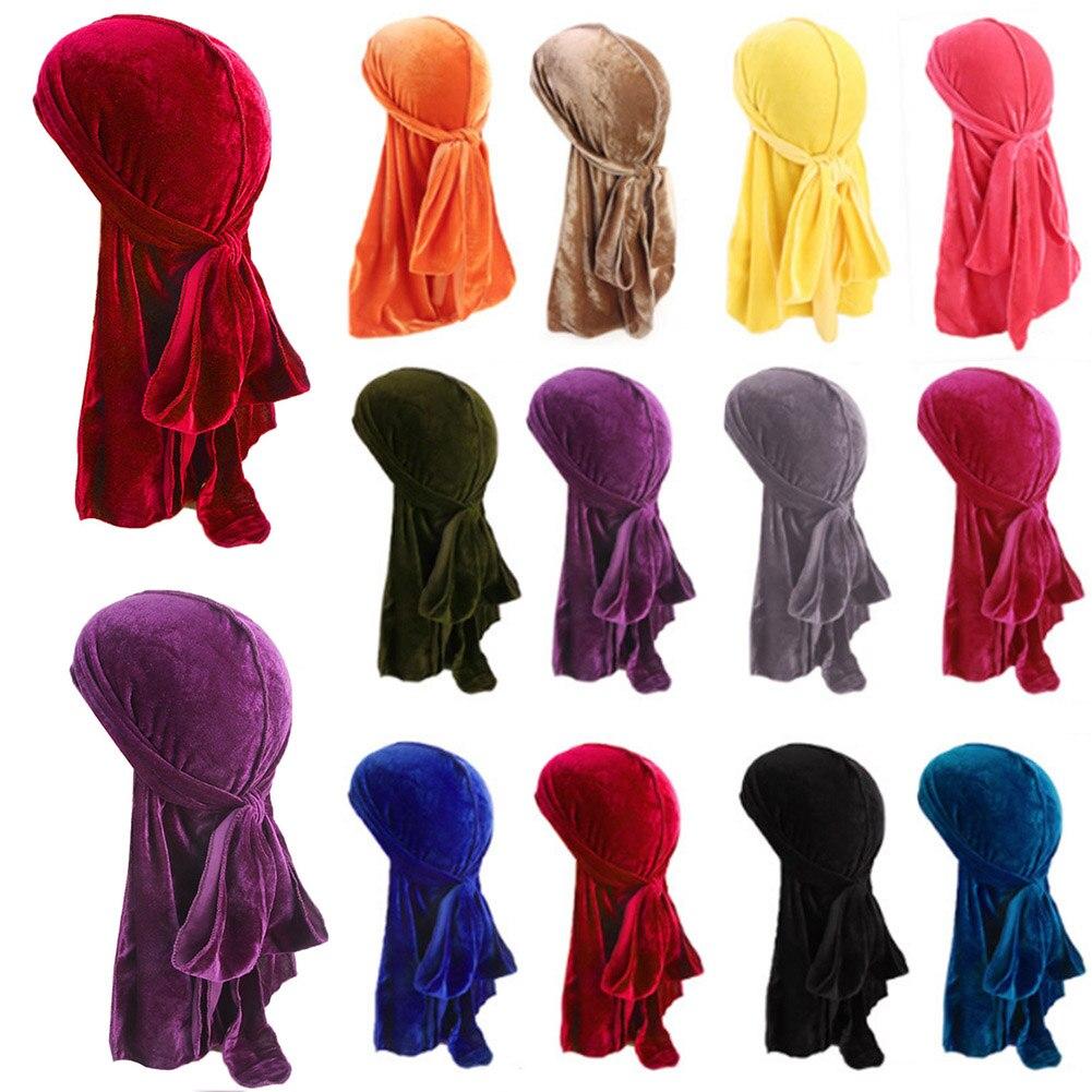 Unisex Men Women Breathable Bandana Hat velvet Durag do doo du rag long tail headwrap chemo cap Solid Color Velvet Bandanas Hat