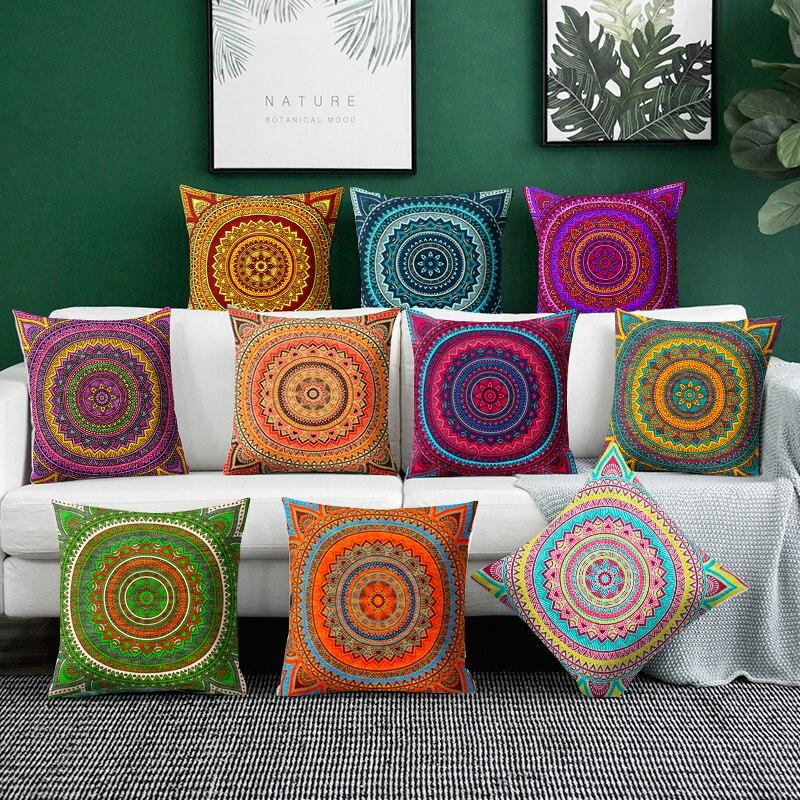 Наволочка для подушки с мандалой, чехол из полиэстера для домашнего дивана, искусственные подушки, богемные декоративные подушки с геометр...