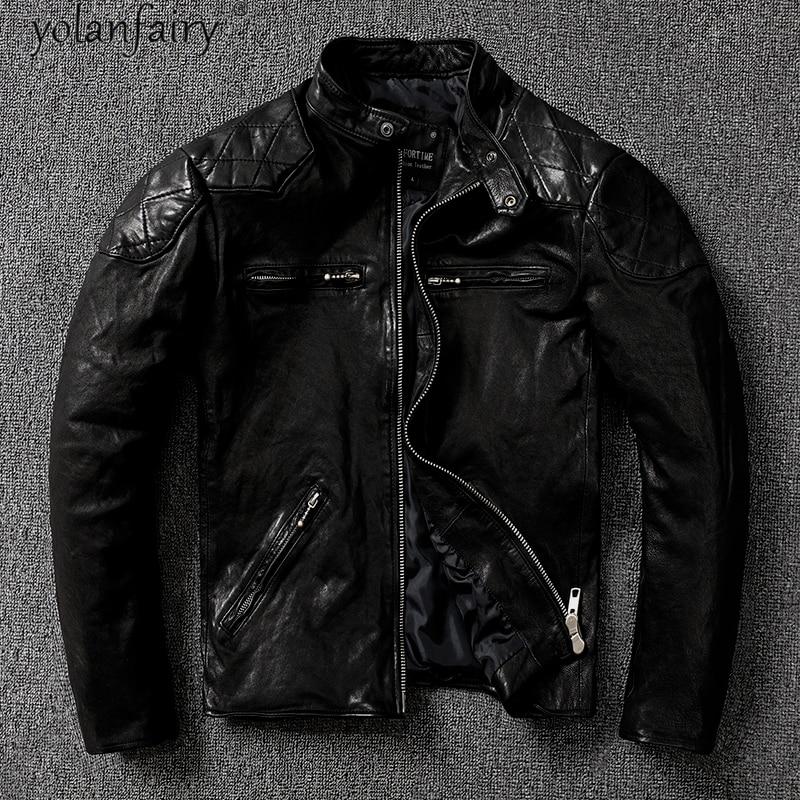 جاكيت رجالي من الجلد الطبيعي بتصميم عتيق مناسب للربيع للدراجات النارية معطف رجالي من جلد الغنم متوفر بمقاسات كبيرة حتى 5xl 2021 Veste Homme Pph4409