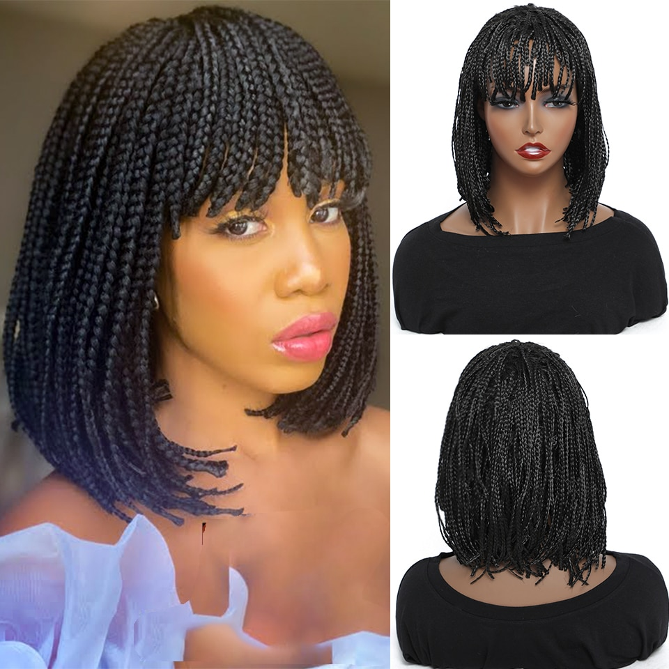 Cheap Braided Wigs For Black Women Heat Resistant Crochet Box Braided Bob Wig With Bangs African Synthetic Braiding Hair Wigs