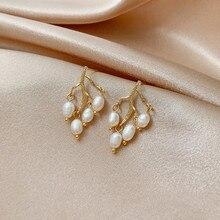 2020 Korean New Design Fashion Jewelry Natural Baroque Freshwater Pearl Earrings Branch Pendant Female Earrings