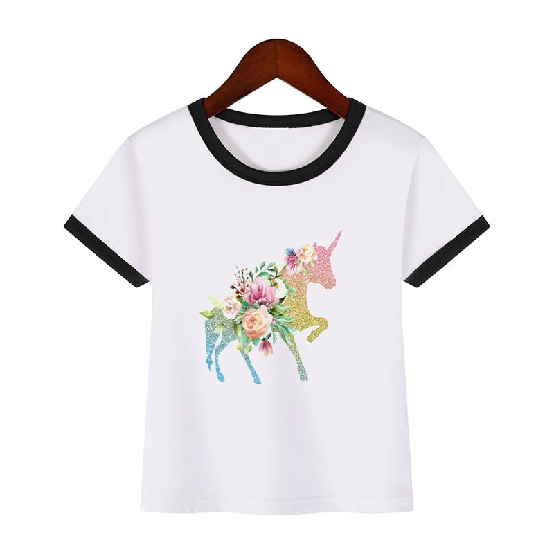 Camiseta con estampado de Harajuku unicornio y flor kawaii para bebé, ropa...