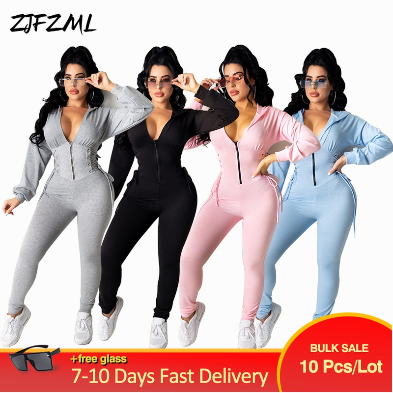 Bulk Lots Wholesale Items Sportswear One Piece Slim Jumpsuit Early Autumn Hooded Long Sleeve Overall Casual Waist Shape Catsuits
