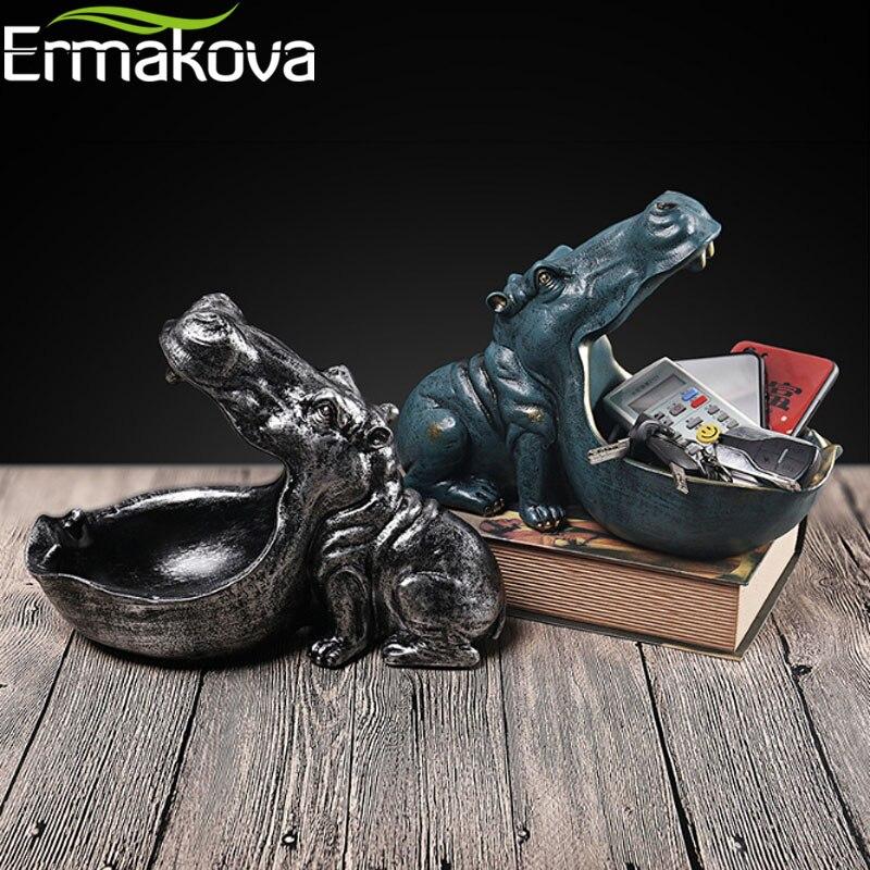 Ermakova hipopótamo estátua resina hippopotamo escultura estatueta chave doces recipiente decoração de mesa para casa acessórios
