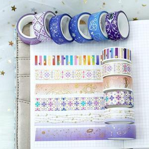 12 Rolls/Set Gold Foil Washi Tape Stars Galaxy Masking Tape Decorative Adhesive Tape Sticker Scrapbook Diary Kawaii Stationery