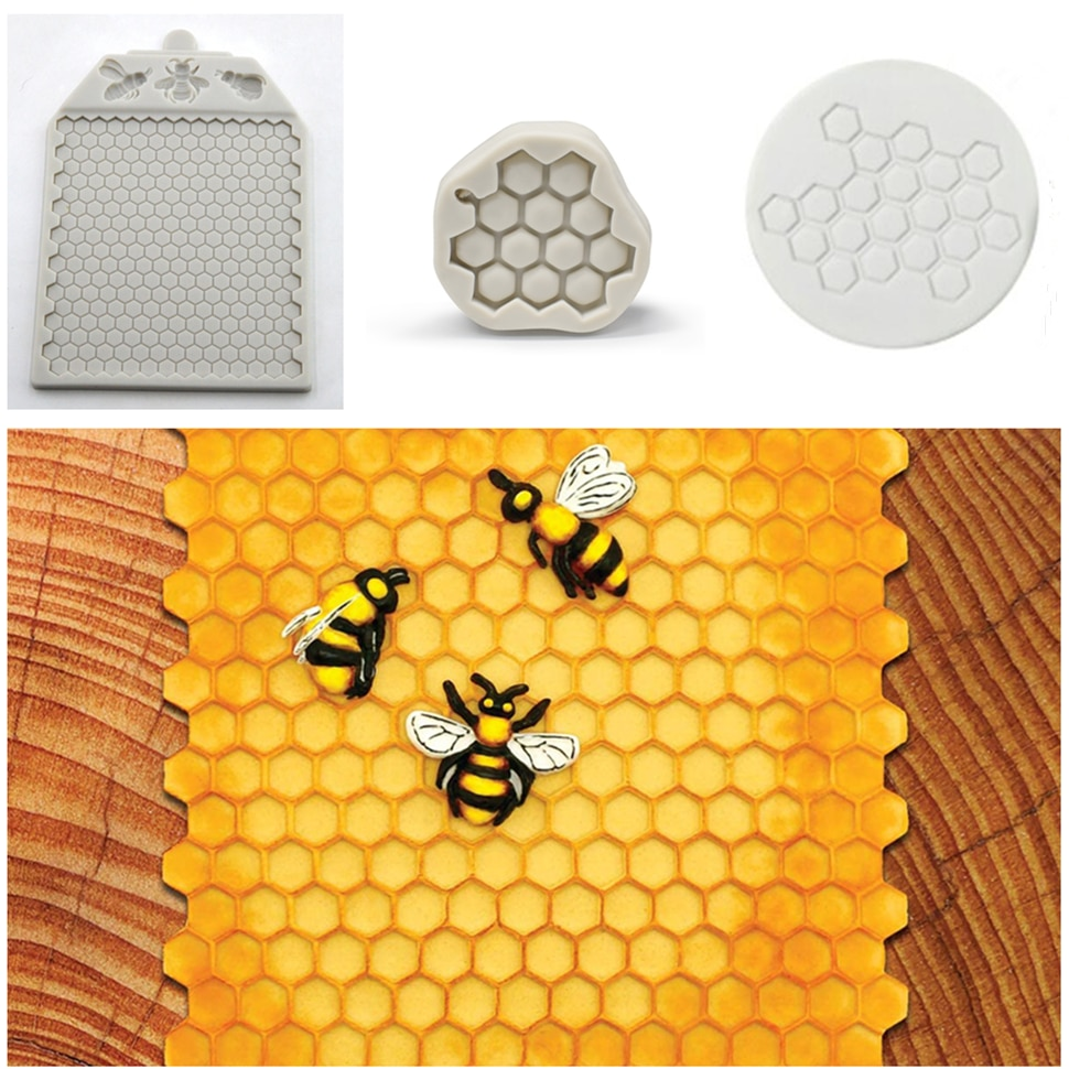 Bees And Continuous Honeycomb Textured Silicone Molds Fondant  Chocolate Cake Mould Cake Decorating Tools Kitchen Bakeware hallowe shape silicone chocolate mold for cake decorating fondant mould baking tools resin form kitchen cake tools bakeware