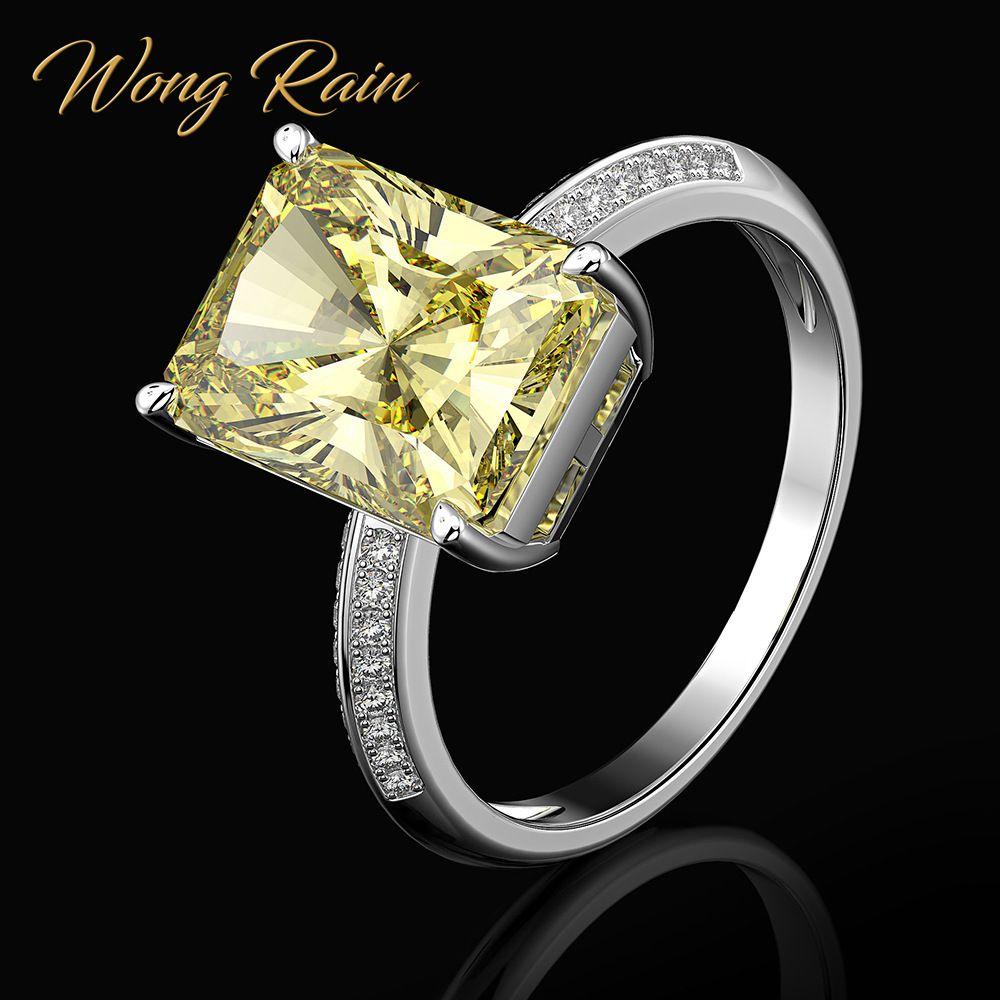 Wong Rain Classic 100% 925 Sterling Silver 9 * 12 MM Citrine Gemstone Wedding Engagement Diamonds Ring Fine Jewelry Wholesale
