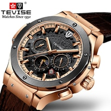 TEVISE Automatic Self-Wind Mechanical Watches Moon Phase Mens Waterproof Watch Top Brand Luxury Rose