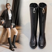 fashion women boots pu leather zipper high top thigh high boots square heel winter black knee high boots botines de mujer