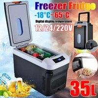 35l car home auto refrigerator 18 65 degrees mini fridges 12v24v 220v portable food drink freezer cooler for car outdoor