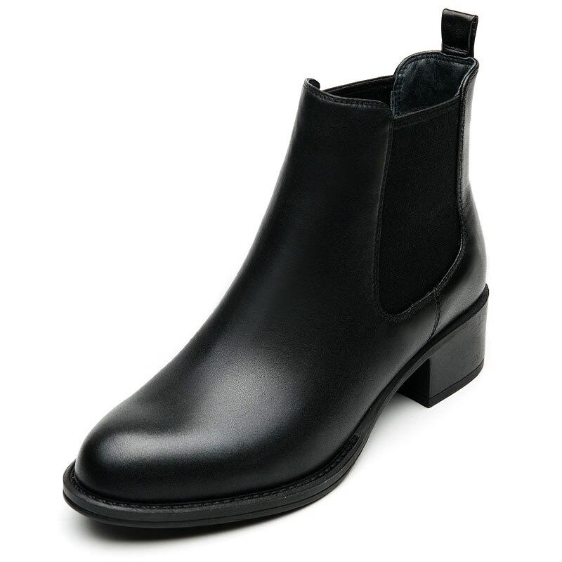 Botas chelsea de piel auténtica para mujer, botines tobilleros, color negro, para...