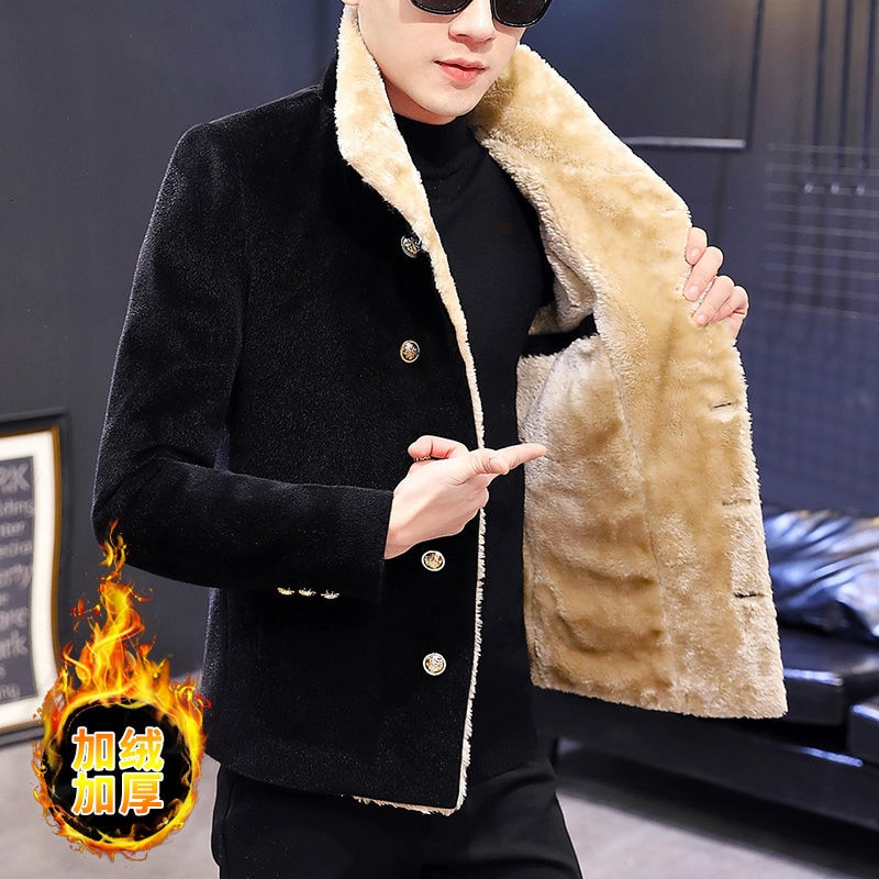 Chaqueta corta de lana de estilo coreano para Hombre, Abrigo Largo de...